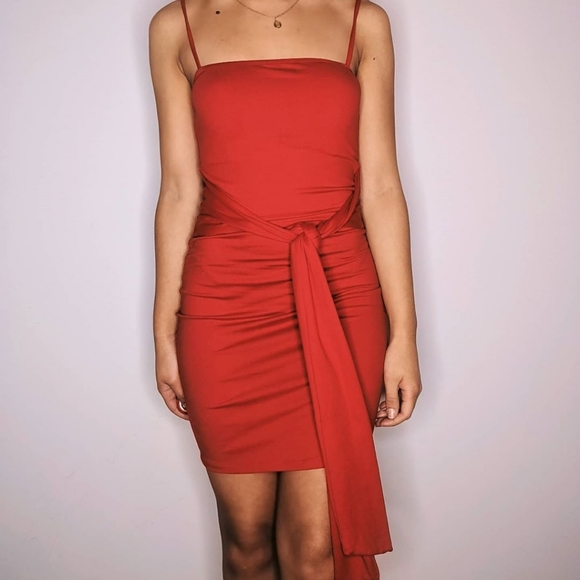 Fashion Nova Red Dress with Tie Front Detail